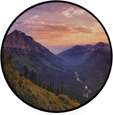 Round Area Rug Sunrises Sunsets Mountains Forests Carpet Floor Mat For Bedroom Living Room Study Non Slip Soft Print Amazon Co Uk Kitchen Home