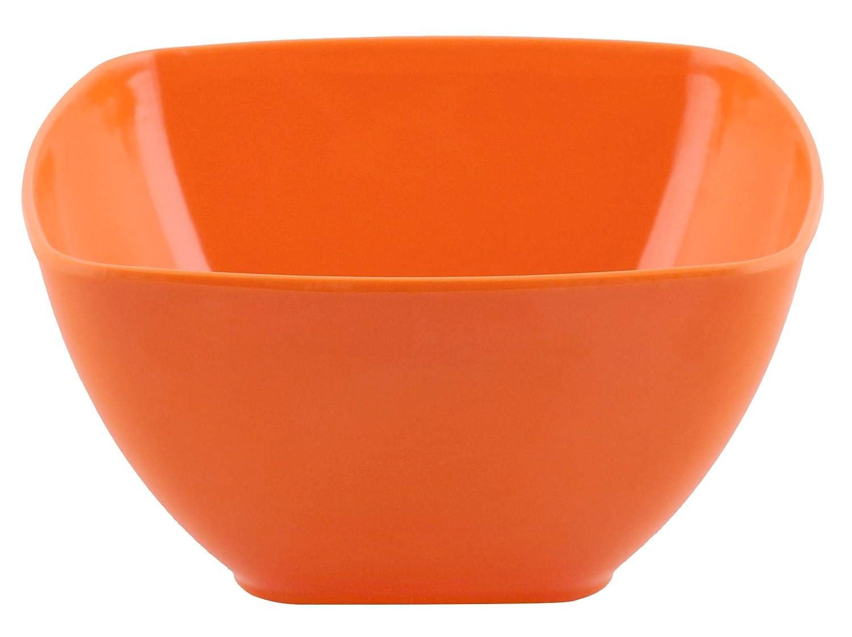  Shatter-Proof and Chip-Resistant Melamine Square Plates and Bowls Dinner Plate Salad Plate /& Soup Bowl  Color:Red Orange Squares Solid 4 Each Melange 12-Piece 100/% Melamine Square Dinnerware Set