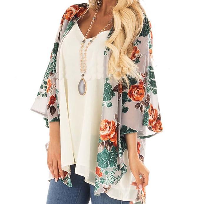 Hellomiko Summer Lady Bohemia Sunblock Beach Style Chifón Kimono Rebeca Chal
