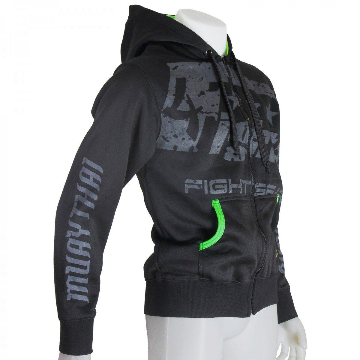 4Fighter Kapuzen Hoodie & 039;MMA We Are All one& 039; Hoodie mit Kapuze und Reißverschluß schwarz neongrün