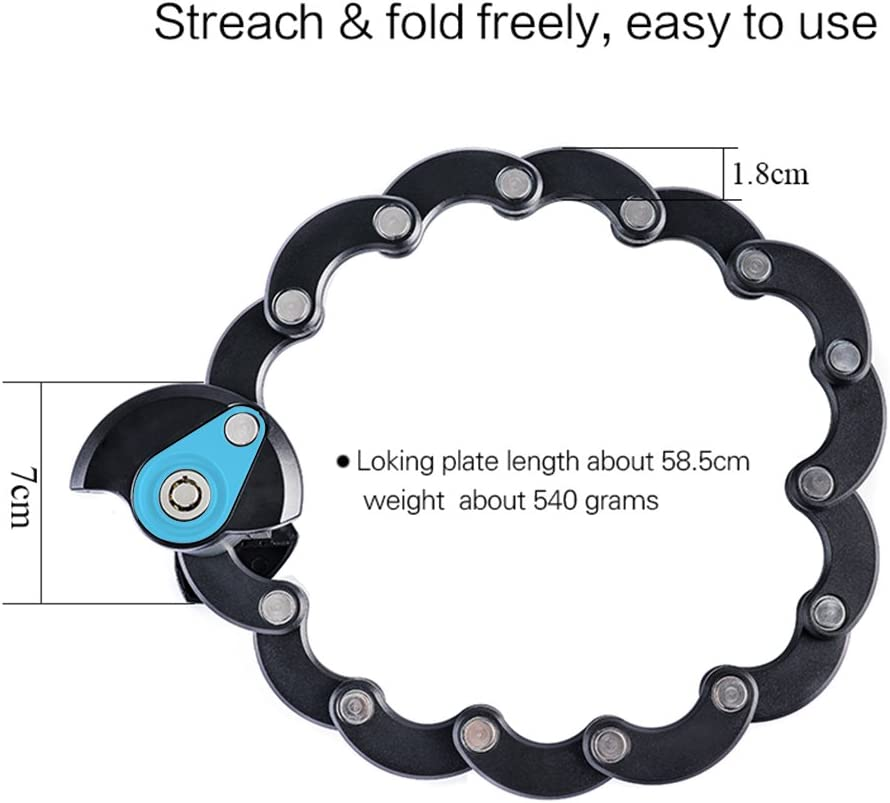 Scooter Creative Bike Chain Folding Locks High Security Anti Theft for Cycle Grills with 3 Keys Fozela Bicycle Lock