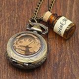 Pretty See Vintage Uhr Alice im Wunderland Trinken Mich Flasche Taschenuhr Halskette