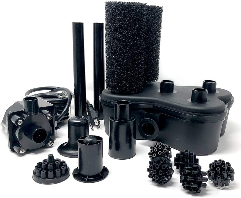 Beckett Corporation Bio Filter System with FR400 Pond Pump and Nozzles - Water Pump and Filter for Indoor/Outdoor Ponds, Fountains, Water Gardens, Aquariums, and Waterfalls, 6.6' Max Fountain Height, Black