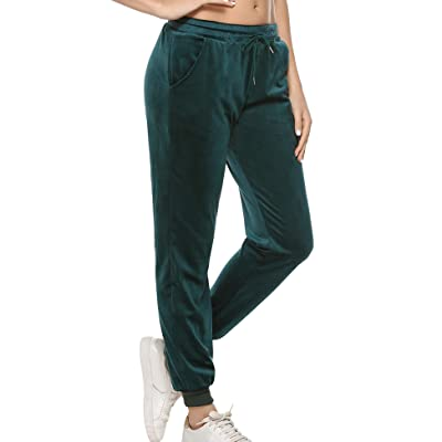 Aibrou Womens Joggers Yoga Pants Active Solid Velour Sweatpants for Women with Pockets at Women's Clothing store
