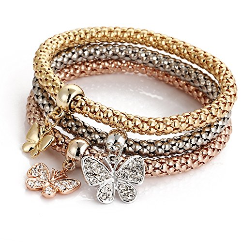 ISAACSONG.DESIGN I's 3 Bracelets Multilayer Gold/Silver/Rose Gold Corn Chain Charms with Crystal Stretch Bracelet Set for Women (Butterfly)