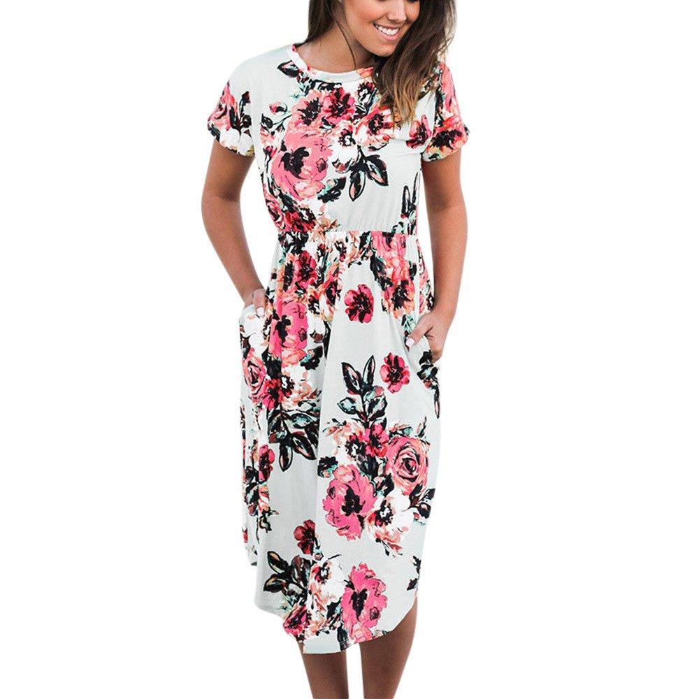 Dress,2018 Baby Girls Flower Print Short//Long Sleeve Princess Dress Long Maxi Sundress