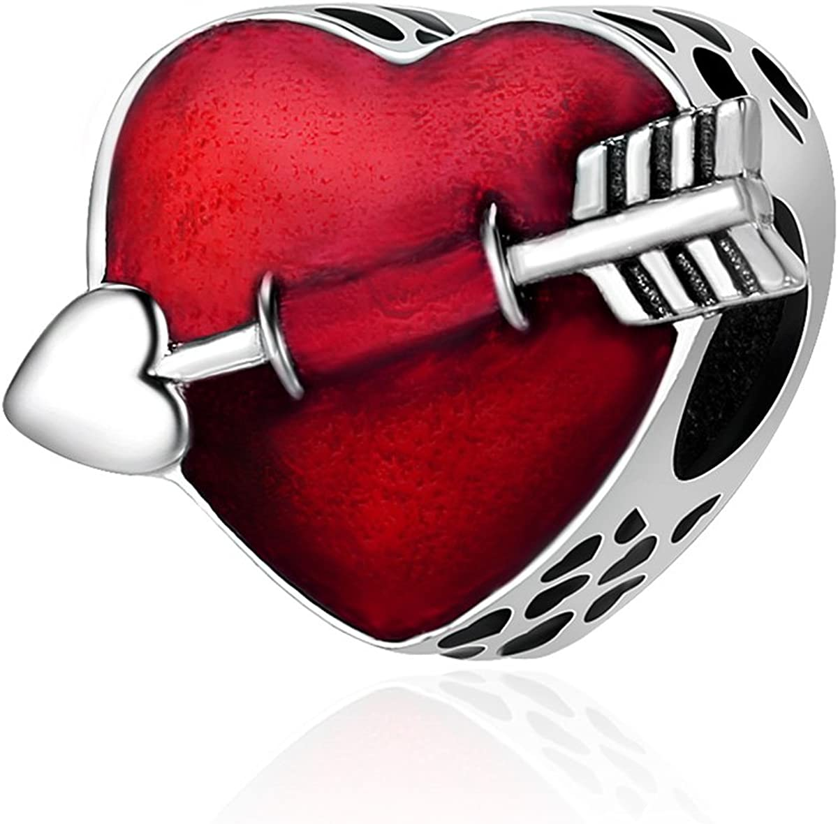 Soulove First Love Engrave Red Enamel Arrow Heart Charm 925 Sterling Silver Bead For Snake Chain Charm Bracelet