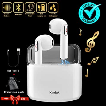 Kindak Inalámbricos Auriculares Bluetooth,Wireless In-Ear Cascos Earbuds con Micrófonos Manos Libres Headset, Mini Headphone Earpods Compatible Apple iOS ...