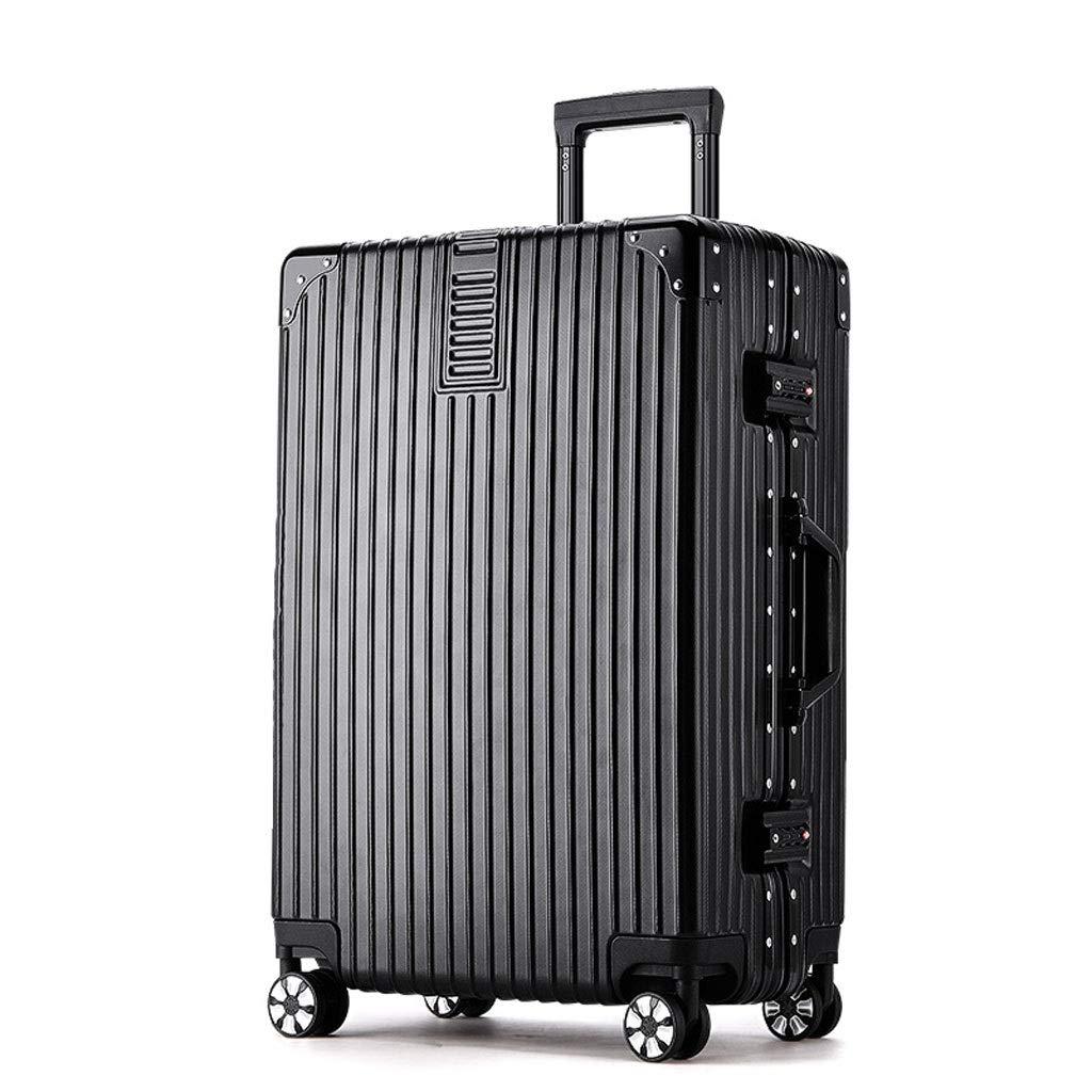 スーツケース トロリー大容量アルミフレームトラベルケース頑丈なブラックダークグリーンレッドローズゴールド4色37 * 24.5 * 59、41 * 25 * 64 2サイズ (色 : ブラック, サイズ さいず : 37*24.5*59) 37*24.5*59 ブラック B07RTLM4Z6
