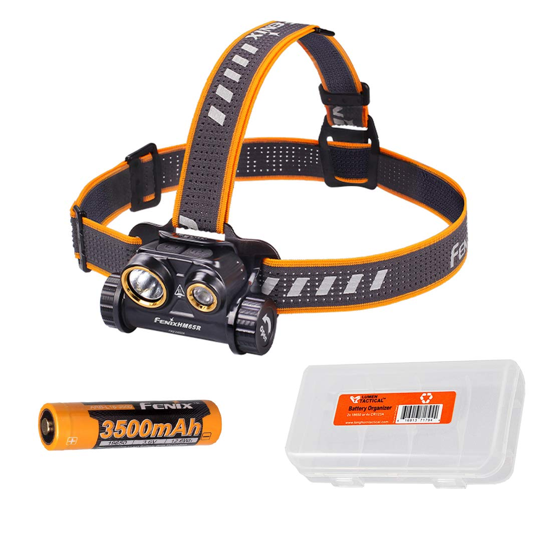 Fenix HM65R 1400 Lumen Dual Beam USB Rechargeable Headlamp with Spotlight and Floodlight with Battery and LumenTac Battery Organizer by Fenix Flashlights