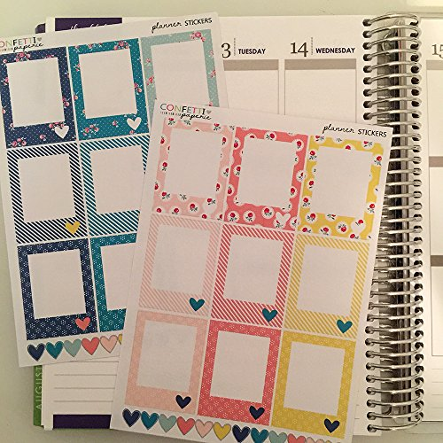 Full Boxes blank planner stickers, planner accessory, Erin Condren