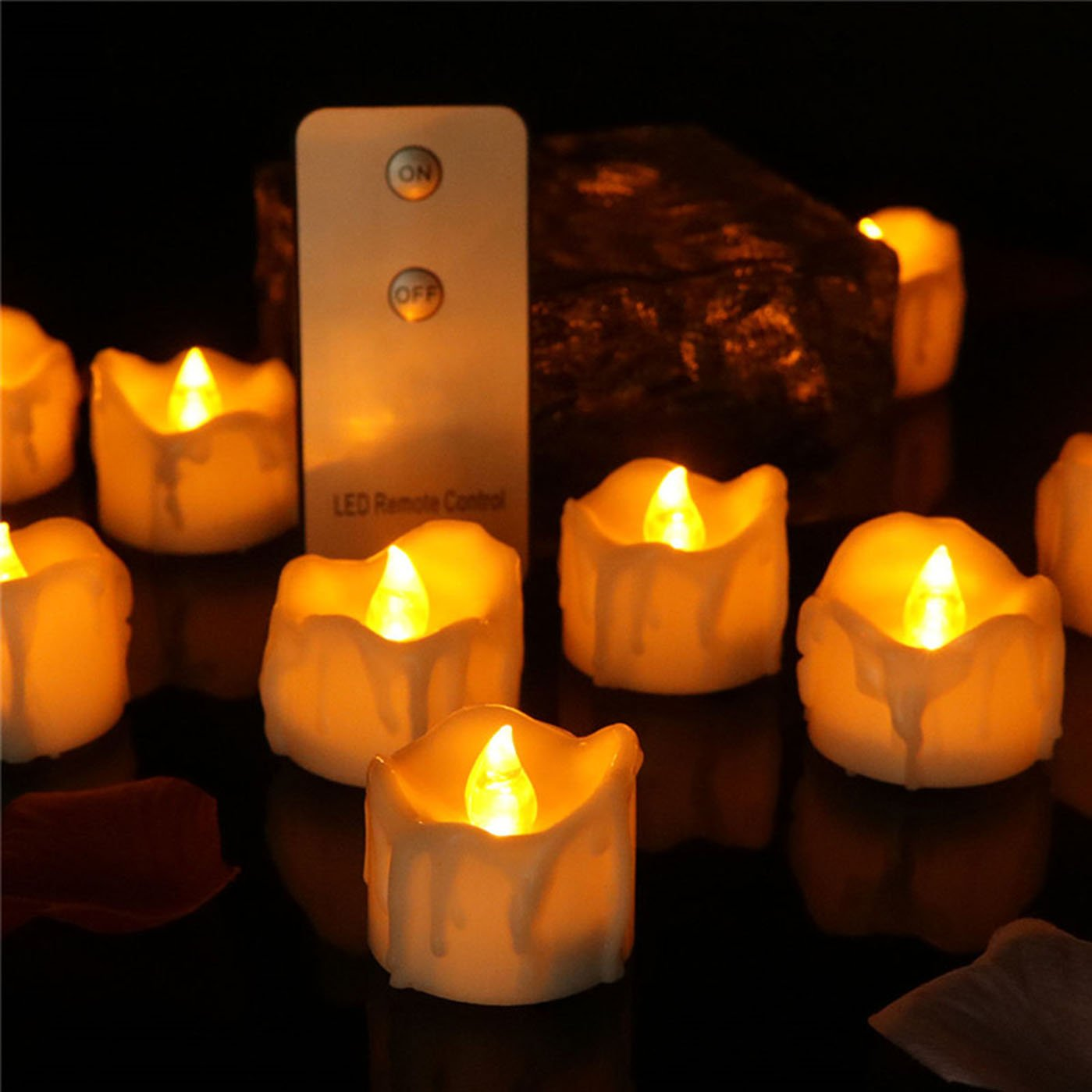 Dellukee Battery Operated LED Tea Lights with Remote 96pcs Cute Drop Tear Yellow Flickering 1.2 Inch Flameless Candles for Halloween Christmas New Year Family Party Decoration
