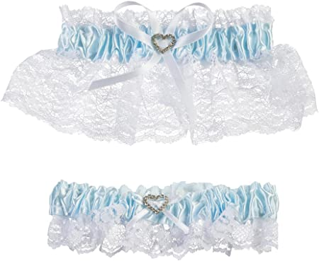 Darice Lace Garter Set Keepsake and Toss Away Blue