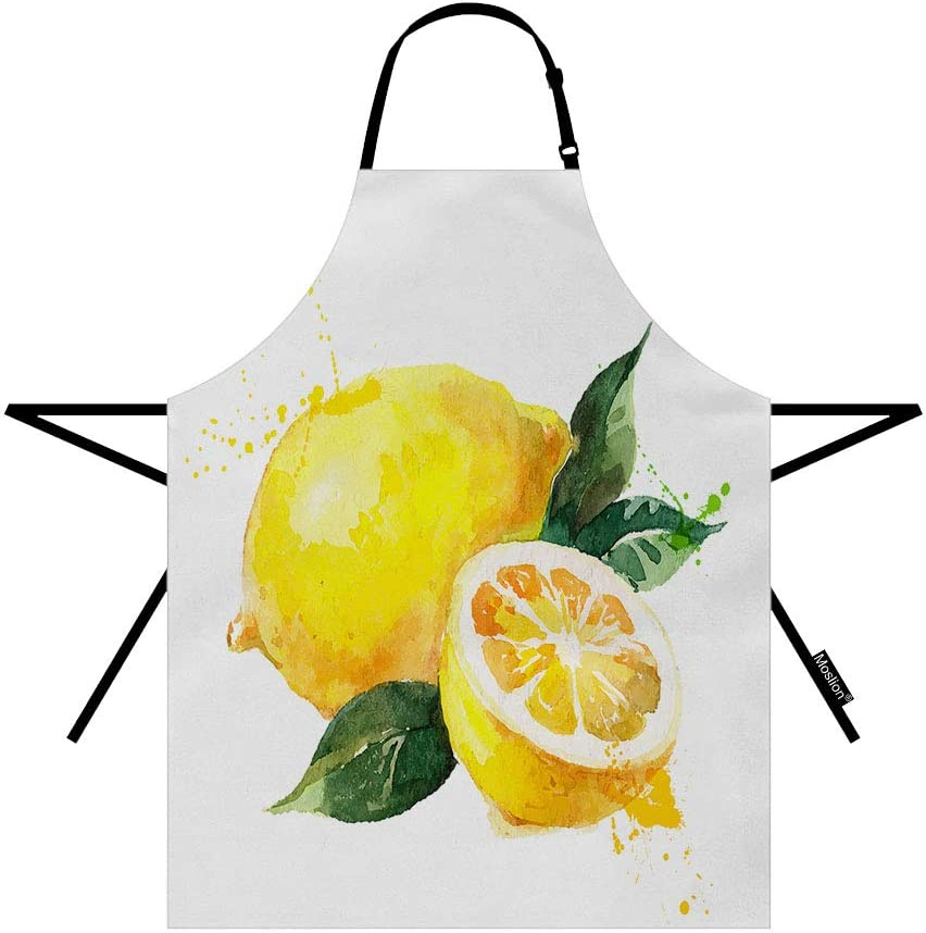 Moslion Lemon Apron 31x27 Inch Nature Watercolor Summer Fruit Lemons Slice Leaves Kitchen Chef Waitress Cook Aprons Bib with Adjustable Neck for Women Men Girls Yellow Green
