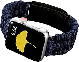 HERO Sport Band Compatible for Apple Watch Band. Durable Woven Nylon Velcro Breathable 550 Paracord Lifesaving Wristband for iWatch Series 5 4 3 2 1 - Blue(38mm/40mm)