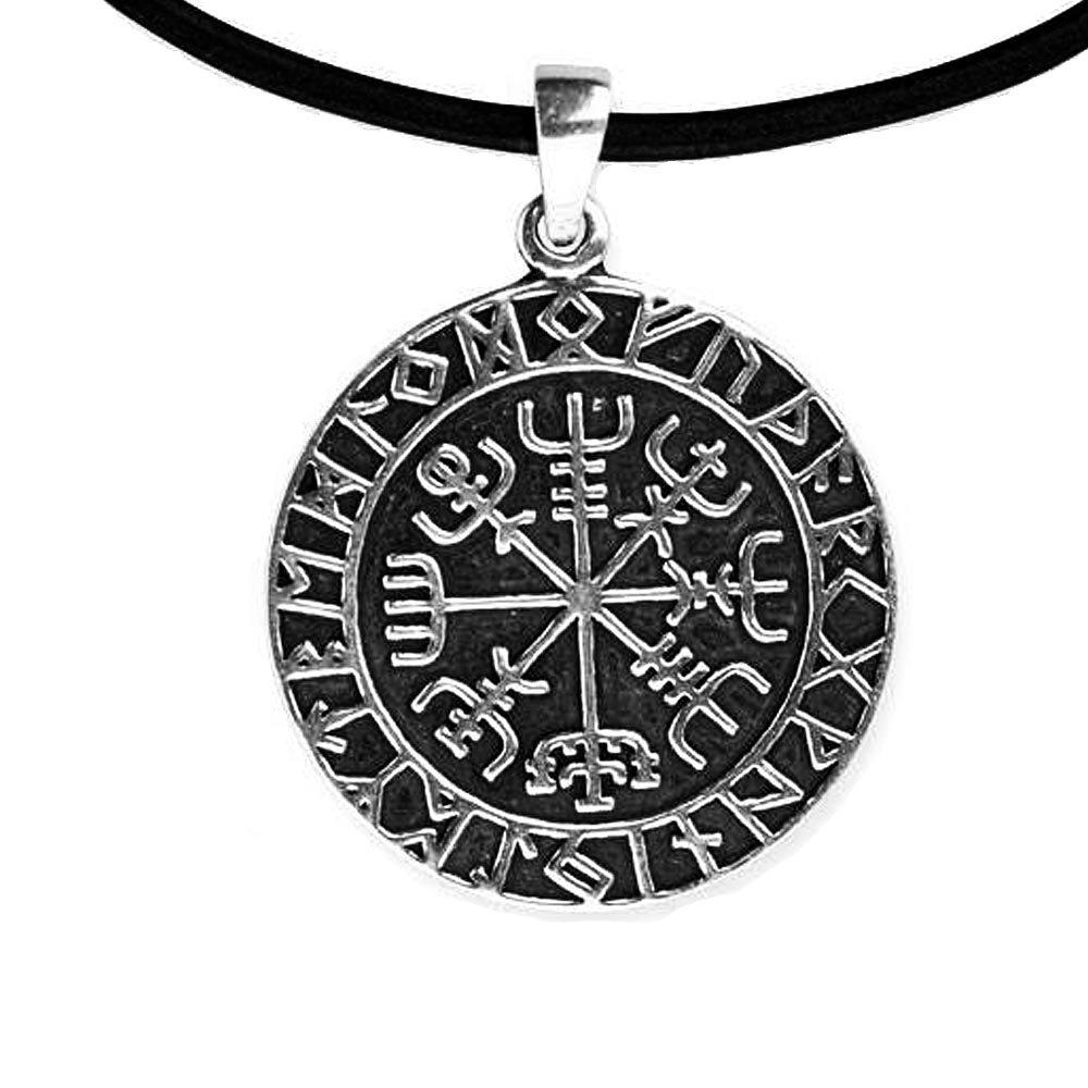 DarkDragon Anhänger Wikingerkompass Vegvisir Keltischer 925er Silber Schmuck Amulett Reise Talisman mit Lederhalsband Schmucksäckchen und Karte - 5903 66155478782569EDS-5903-LB