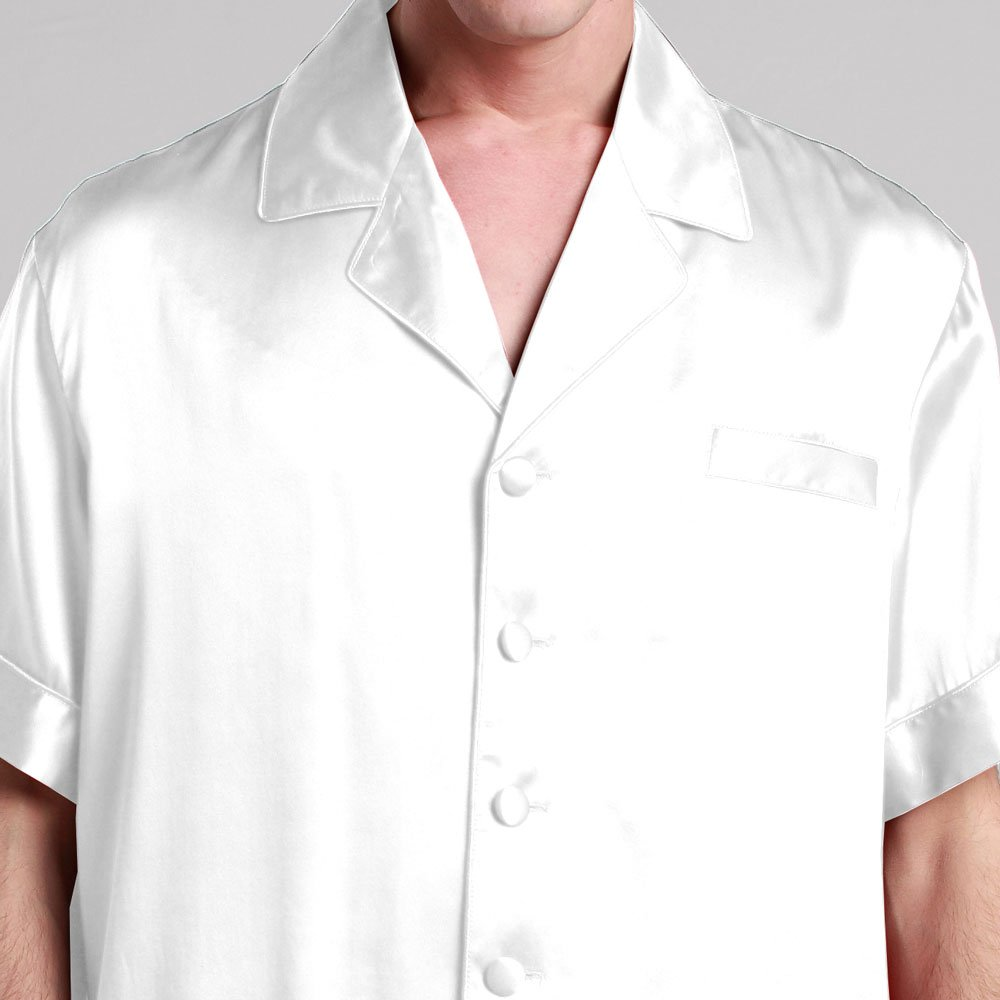 bad9f46650 LILYSILK Men s Silk Pyjamas Shorts Set Notched Collar 22 Momme Pure Silk  White Size 34 XS  Amazon.co.uk  Kitchen   Home