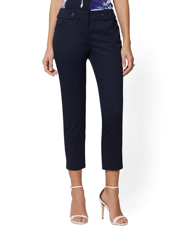 c4e7a4ecdd5e Amazon.com: New York & Co. Slim Leg Crop Pant - Button Waistband: Clothing