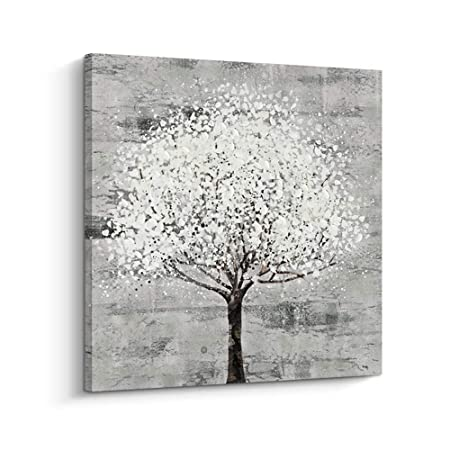 Pinetree Art Grey Art Abstract Canvas Wall Art Tree Decor Painting for Livingroom D, M