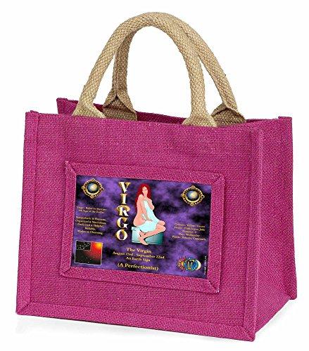 Advanta–Mini Pink Jute Tasche Jungfrau Sternzeichen Geburtstag Little Mädchen klein Einkaufstasche Weihnachten Geschenk, Jute, pink, 25,5x 21x 2cm