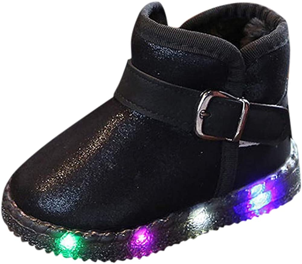 Baby Toddler Boys Girls LED Light Up Shoes Snow Boots 1-6 Years Old Kids Luminous Winter Warm Sneakers Boots