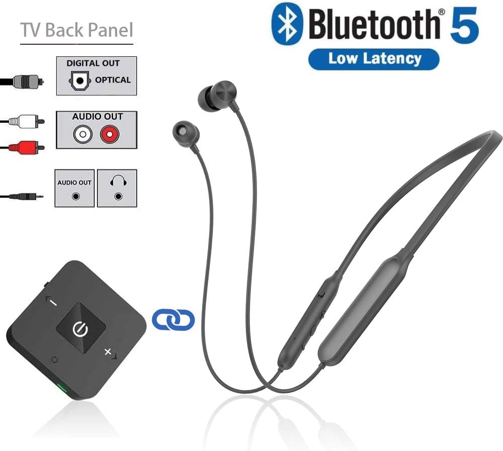 Amazon Com Bluetooth Headphones Transmitter For Tv Watching Golvery Neckband Wireless Stereo Earphones Earbuds Set W Transmitter Adapter For Optical Digital Rca 3 5mm Aux Tvs Plug N Play No Audio Delay Electronics
