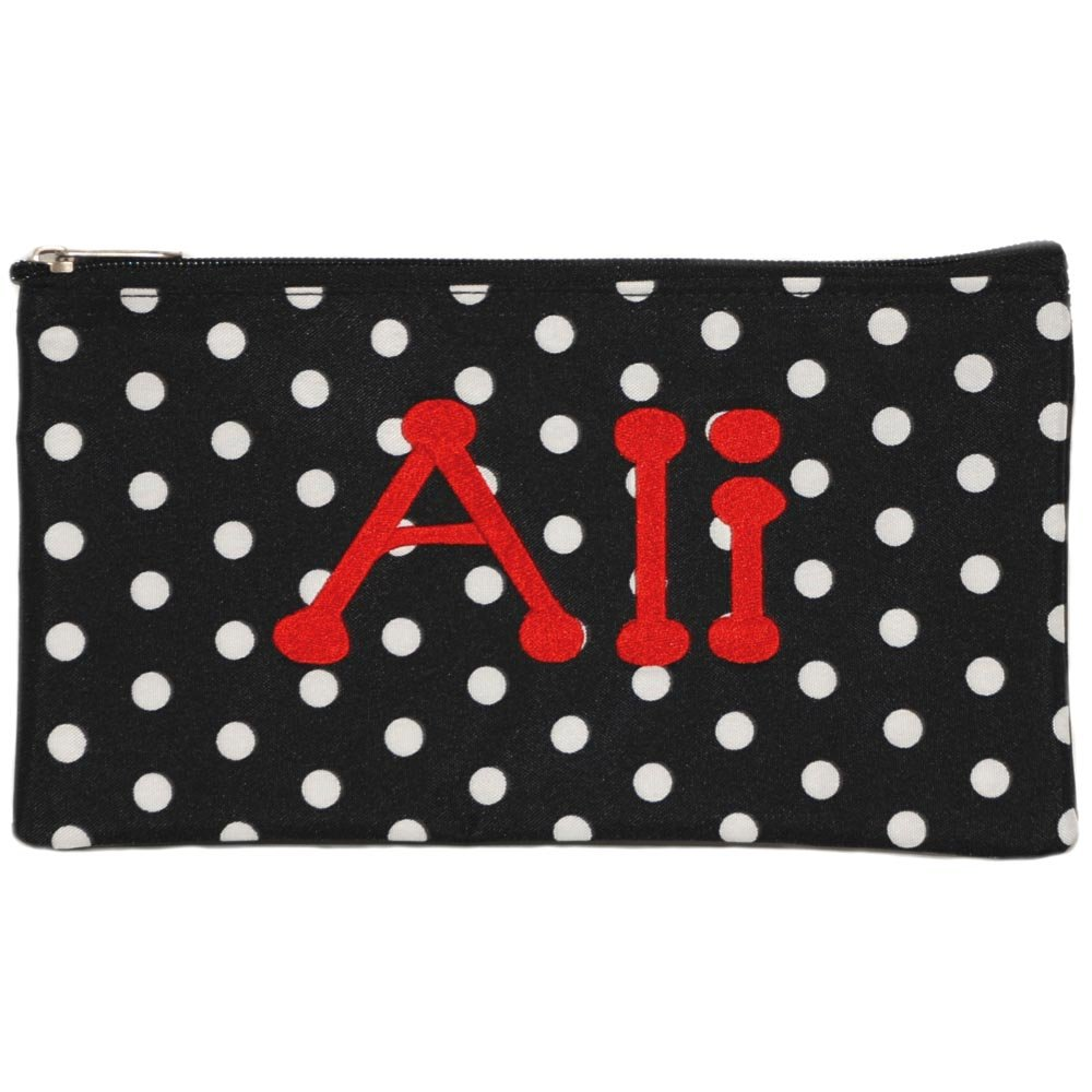 Personalized Black with White Polka Dot Cosmetic Pouch Pencil Bag