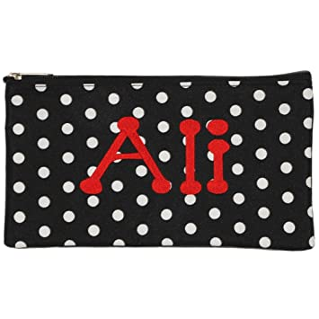 f0ccf21ea451 Amazon.com   Personalized Black with White Polka Dot Cosmetic Pouch Pencil  Bag   Beauty