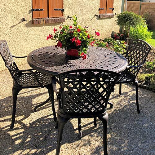 Lazy Susan - ALICE 120 cm Runder Gartentisch mit 4 Stühlen - Gartenmöbel Set aus Metall, Antik Bronze (ROSE Stühle, Terracotta Kissen)