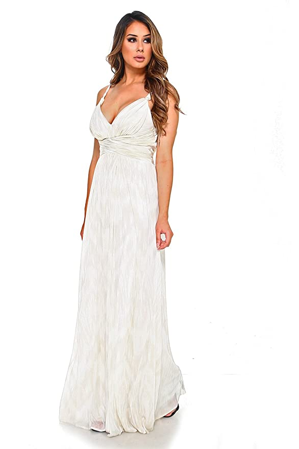 LA Womens Bridesmaid Dress Maxi Dress with Twisted Spaghetti Straps.: Clothing