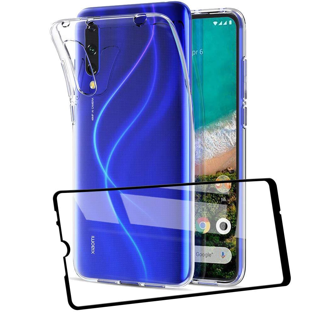 AILRINNI Coque pour Xiaomi Mi 9 Lite + Verre trempé Protection écran, Souple Etui Transparente TPU Housse de Protection pour Mi 9 Lite