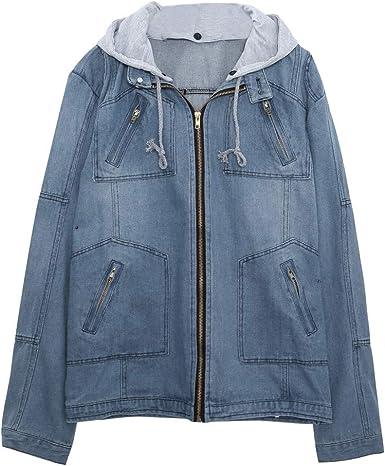 Homme à Manches Longues Slim Fit Zip jeans vestes à capuche denim manteaux cuir causual