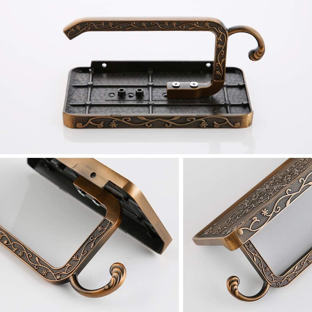 Gold Gricol Toilettenpapierhalter mit Handyhalter Wandhalterung Rollenhalter Klopapierhalter f/ür Badezimmer Retro Vintage-Stil