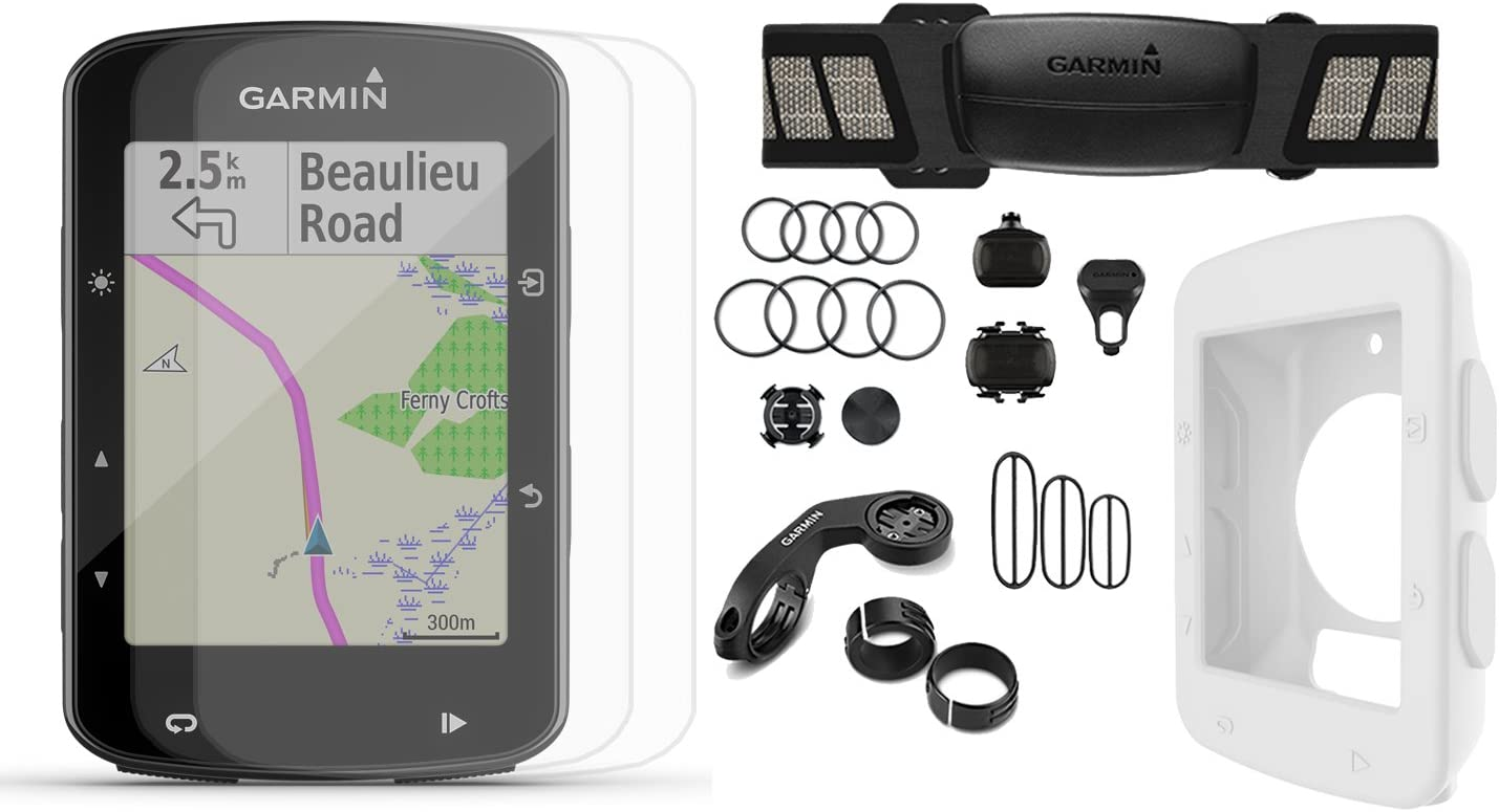 Garmin Edge 520 Plus 2018 Version Cycle Bundle w PlayBetter Silicone Case Screen Protectors Maps Navigation, Mounts GPS Bike Computer White Case, Speed Cadence Sensors