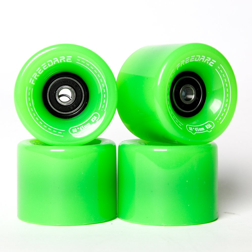 FREEDARE Skateboard Wheels 60mm 83a with Bearings and Spacers Cruiser Wheels (Green,Pack of 4) by FREEDARE