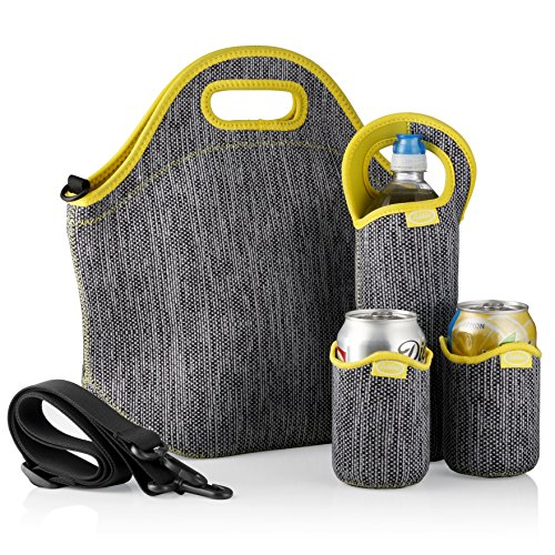 Tabkoe Insulated Neoprene Lunch Bag Set with Tote, Bottle Sleeve, 2 Can Insulators & Adjustable Crossbody Shoulder Strap | Washable, Reusable, Stretchy, Extra Large Travel Lunch Box (Gray Yellow)