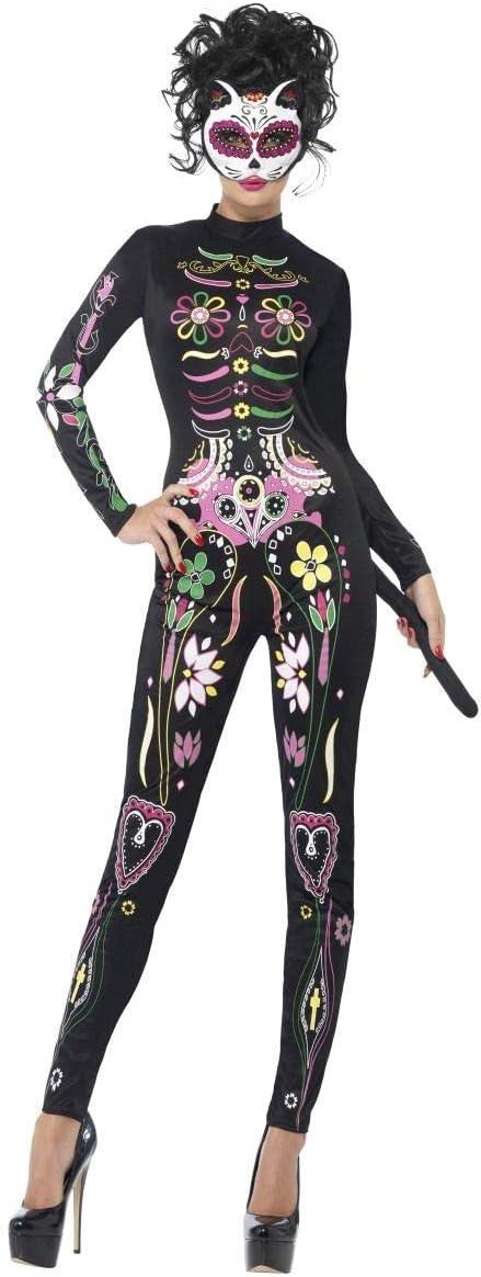 Fancy-Me Disfraz de Calavera de azúcar para Mujer, diseño de Gato ...