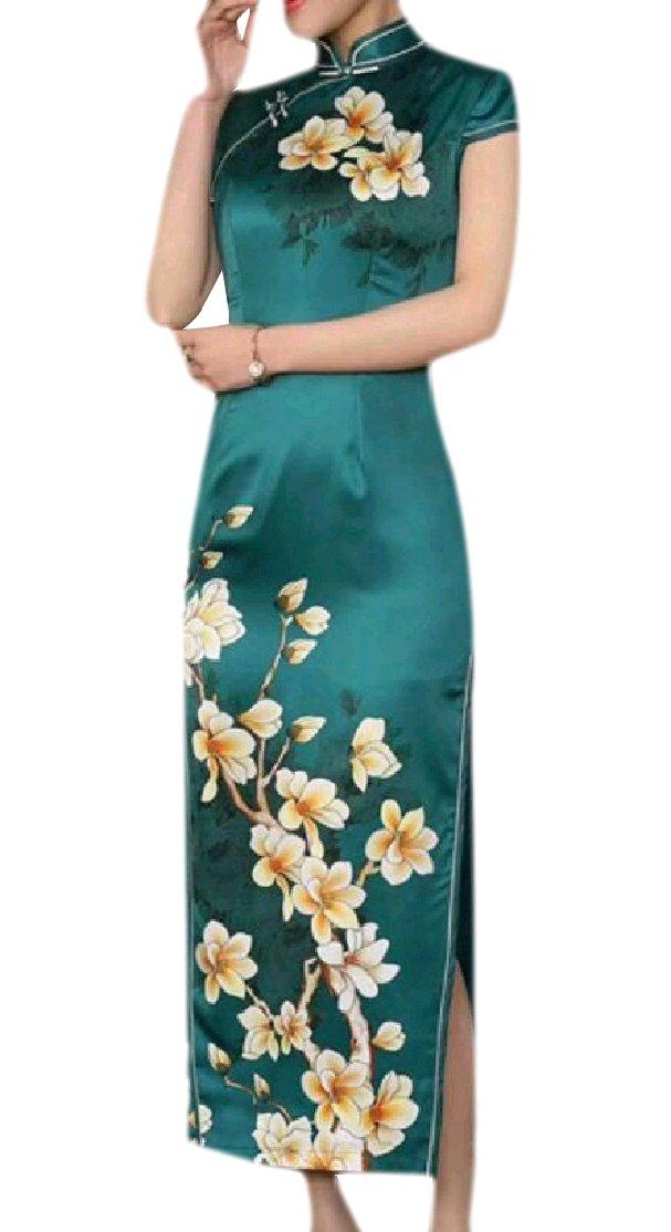 CrazyDay Womens Split Slim Casual Short Sleeves Flower Print Silk Stand Collar Long Qipao Dress Cheongsam Pattern32 2XL