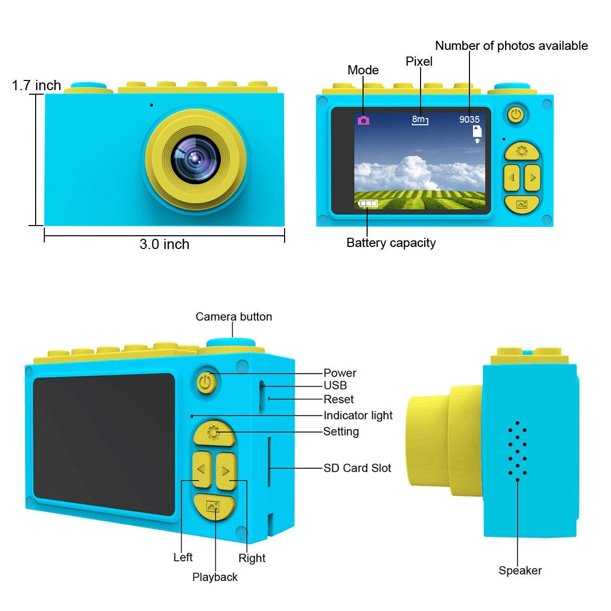 MAGENDARA Kids Digital Camera HD 1080P Children Camera 2.0 Inch Screen Toy Camera Boys Girls Birthday, Blue by MAGENDARA (Image #6)