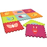 Charles Bentley Children's Bright Coloured Animal Jigsaw Puzzle Playmay Play Mats L32 x W1.2 x H32 cm Toys Soft 9 Pc Interlocking