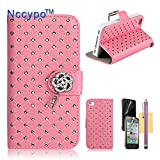 iPhone 4 Case, iPhone 4S Case, Nccypo Fashion Bling Twinkling Crystal Folio Leather Slim Protective iPhone 4 4S Shell Cover For Apple iPhone 4/4S[Metal Wrist Wallet-Pink] with Stylus, Screen Protector and Cleaning Cloth