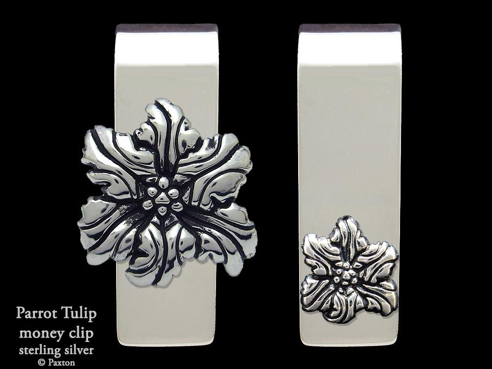 Parrot Tulip Flower Money Clip in Solid Sterling Silver Hand Carved, Cast & Fabricated by Paxton