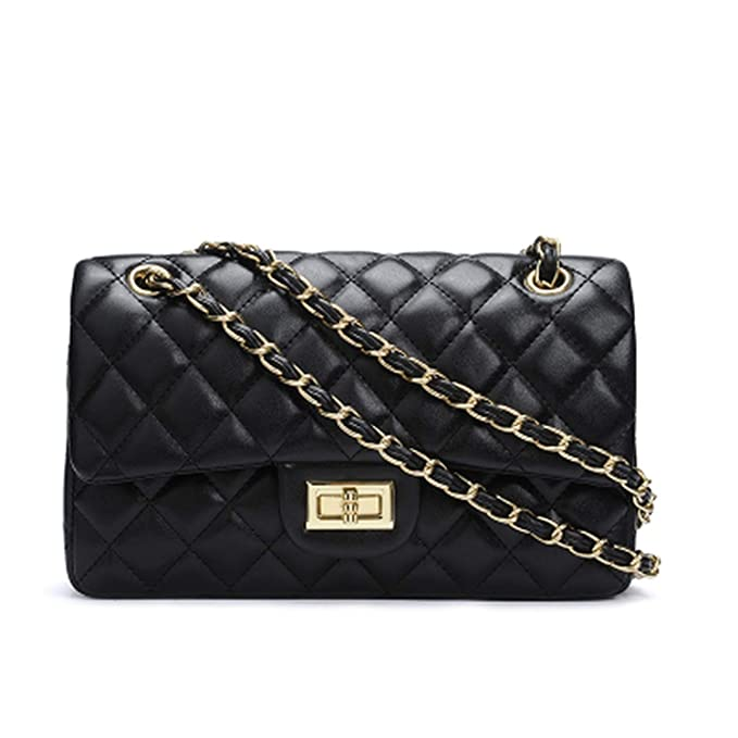 Chains Double Flap Bag Women Quilted Shoulder Bag Luxury Brand Classic Lady Crossbody,Black 2,Length 26cm by Chibi Store Bag
