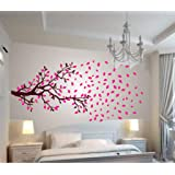 Decals Design 'Lovely Autumn Tree' Wall Sticker (PVC Vinyl, 30 x 90 x 2 centimeters, Brown and Pink)