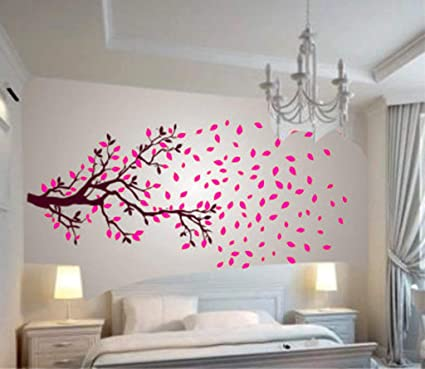 Decals Design Lovely Autumn Tree Wall Sticker (PVC Vinyl, 30 x 90 x 2 centimeters, Brown and Pink)