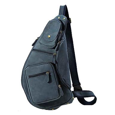 d60ecde7e4e7 Polare Cool Real Leather Cross Body Sling Bag Chest Bag Backpack Large  (Blue)