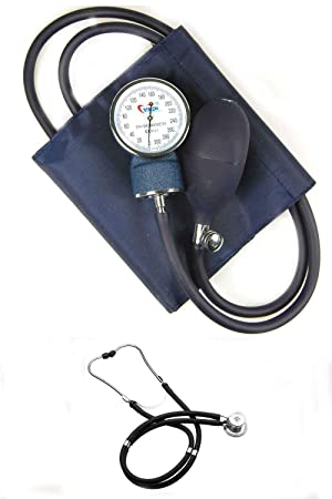 Valuemed esfigmomanómetro + Bundle tubo de medianoche azul marino/negro SPRAGUE RAPPAPORT estetoscopio Medical - Tensiómetro aneroide profesional pro CE NHS ...