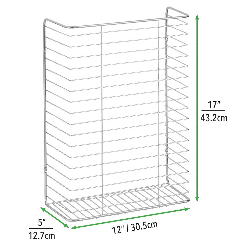 mDesign Wall-Mounted Storage Basket Bronze Wall Organiser Made of Metal Wire for Cupboard or Storeroom Hanging Basket for Wrapping Paper Ribbons and More