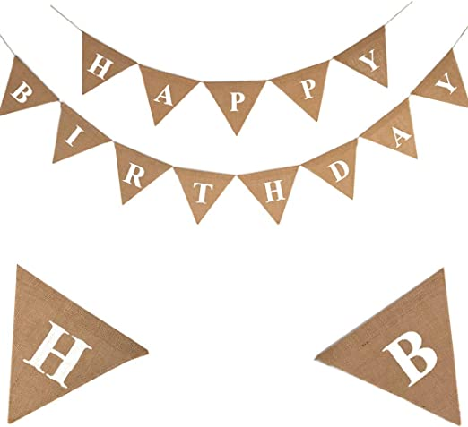 White Card 8 Die Cut Happy Birthday Banners Red foil printed