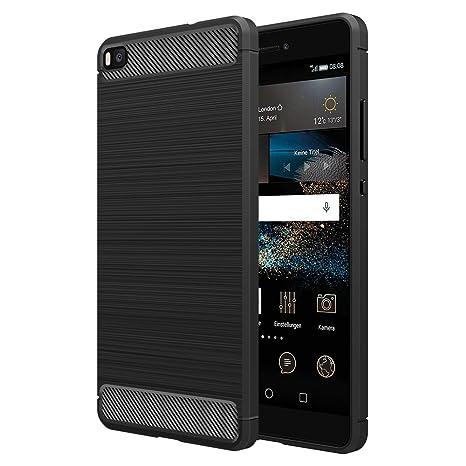 Simpeak Funda Compatible Huawei P8 (5,2 Pulgadas), Funda Huawei P8 Carcasa Huawei P8 Gel Silicona Premium TPU Case, Negro(No para Huawei P8 Lite)